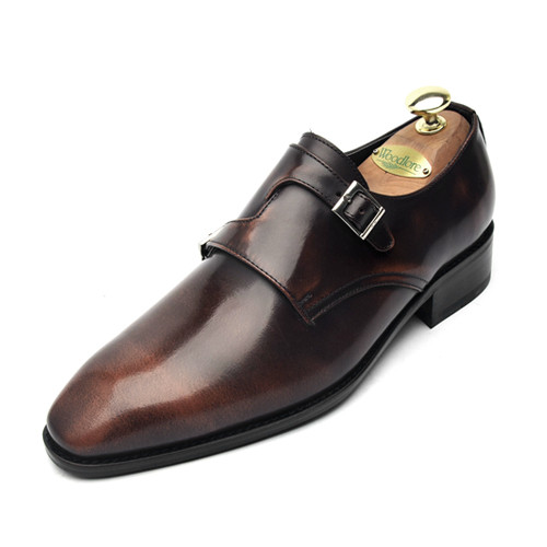 8.5cm cross Double Monk Strap Hand made shoes (EL0124BR)