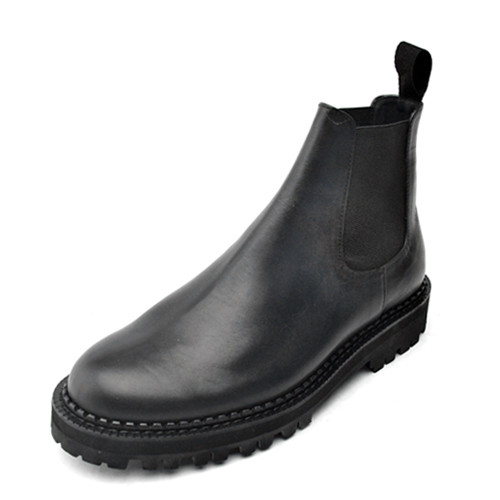 8cm Leather Plain Chelsea Boots Hand made shoes (MICHAEL _EL0130BK)