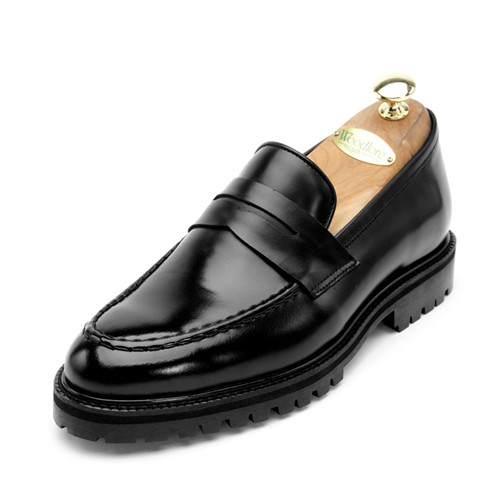 7cm Classic Leather Penny Loafers Hand made shoes (EL0134BK)