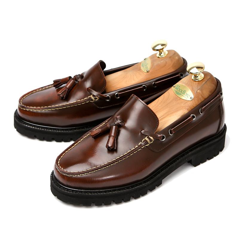 7cm Real Brown tassel looper Hand made shoes (EL0135RBR)