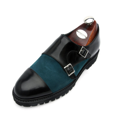 7cm cross double Monk Strap Hand made shoes (EL0141GN)