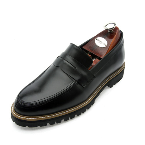 7cm Classic Leather Penny Loafers Hand made shoes (EL0134_1BK)