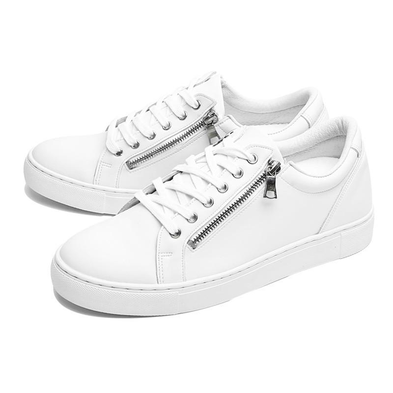 5.5cm Zipper Leather Sneakers (CL0008)
