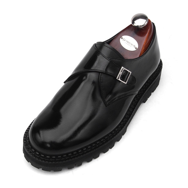 7cm COMANDO Monk Strap Hand made shoes (EL0159BK)
