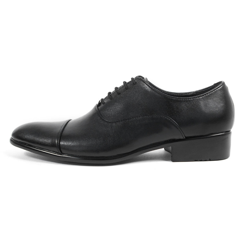 4cm Straight Tip Leather Oxford Shoes (CL0024BK)