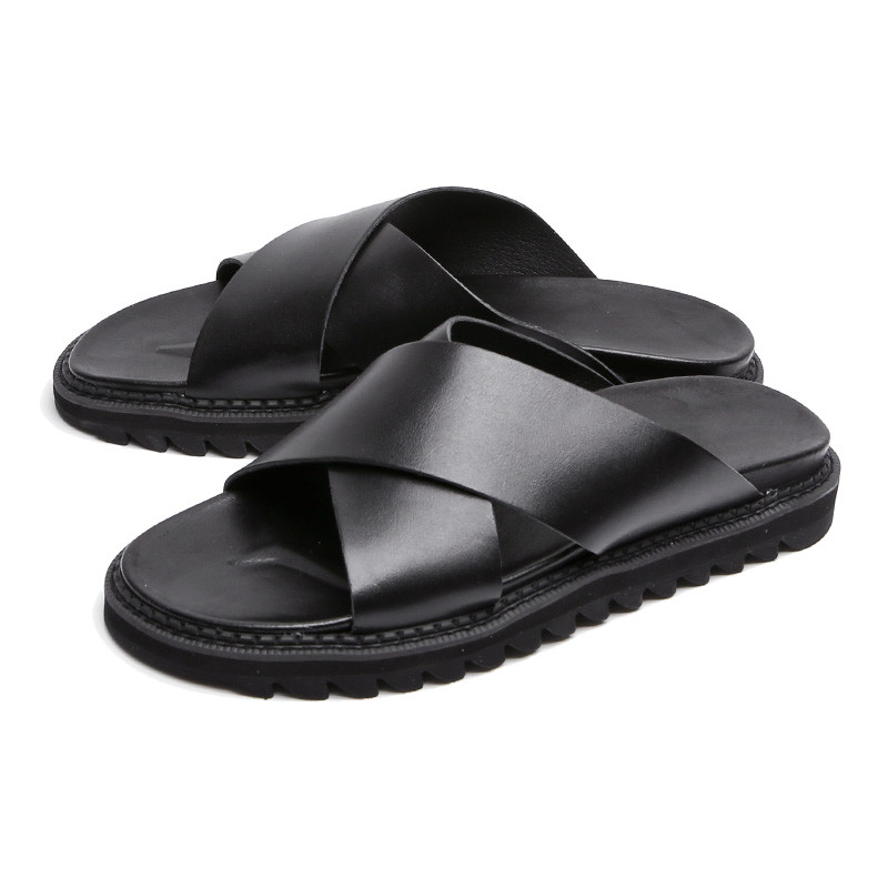 3.5cm Genuine Leather cross Shark Sole Slippers (CL0026)
