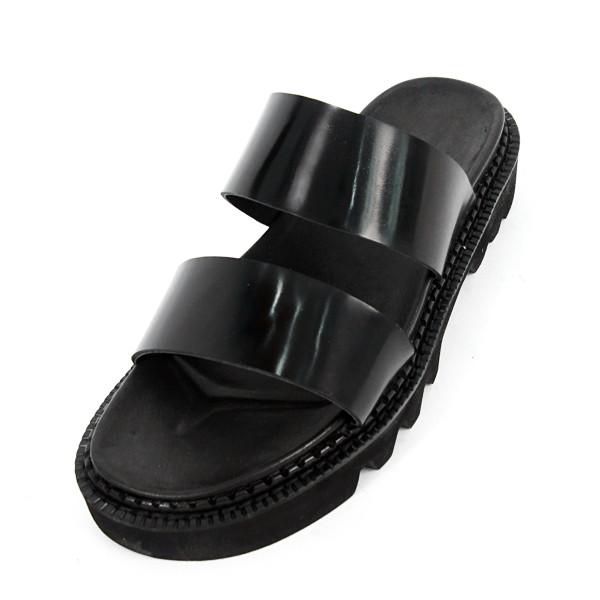 5.5cm COMANDO Banding Slippers Hand made shoes (EL0172BK)