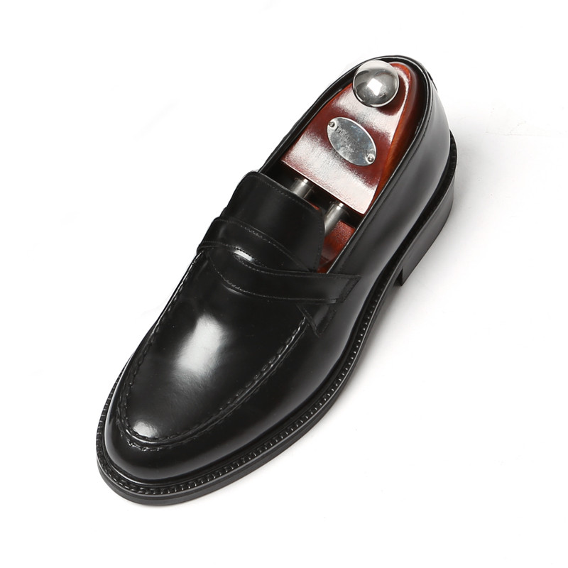 7.5cm Yutibi cross penny loafers Hand made shoes (Luis _EL0177BK)