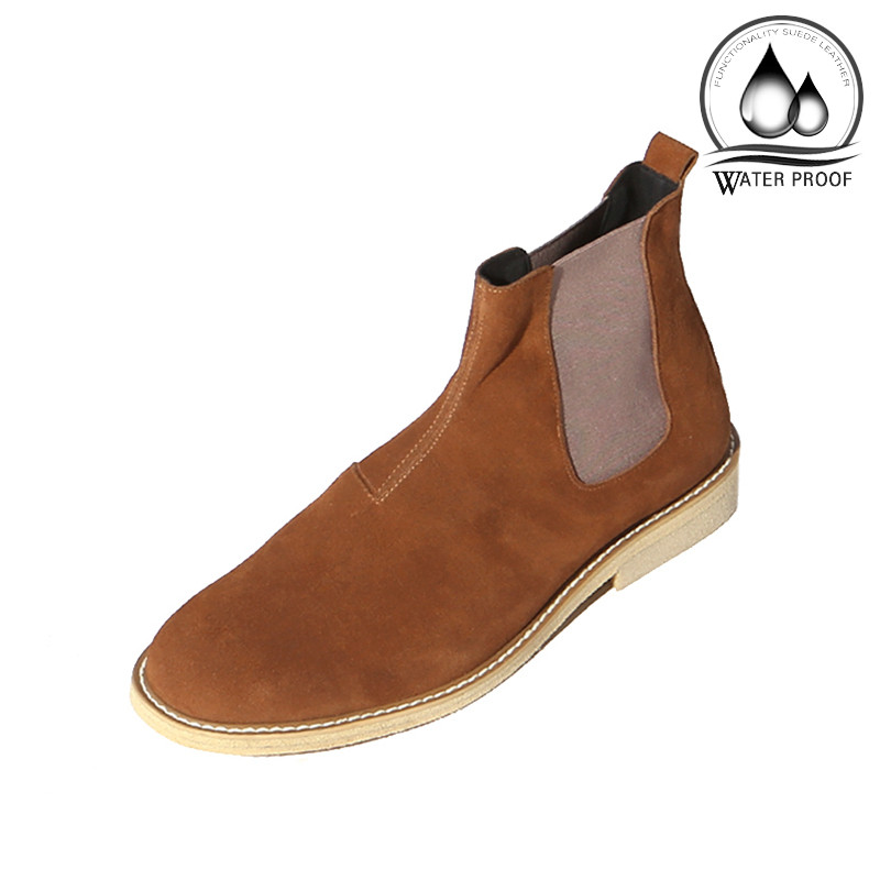7cm crepe Suede Chelsea boots Hand made shoes (Lufth _EL0181BR)