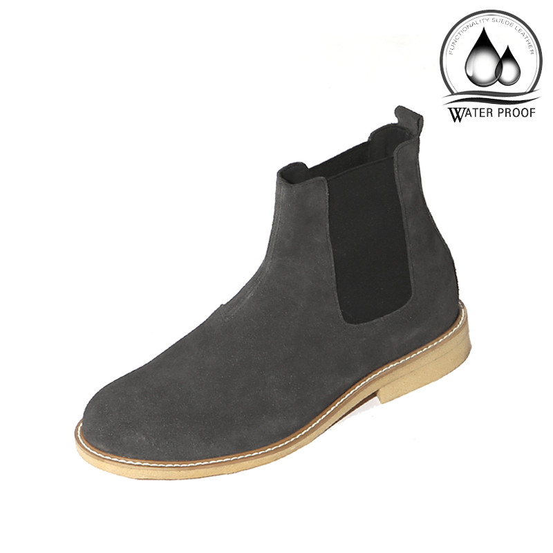 7cm crepe Suede Chelsea boots Hand made shoes (Lufth _EL0181GR)