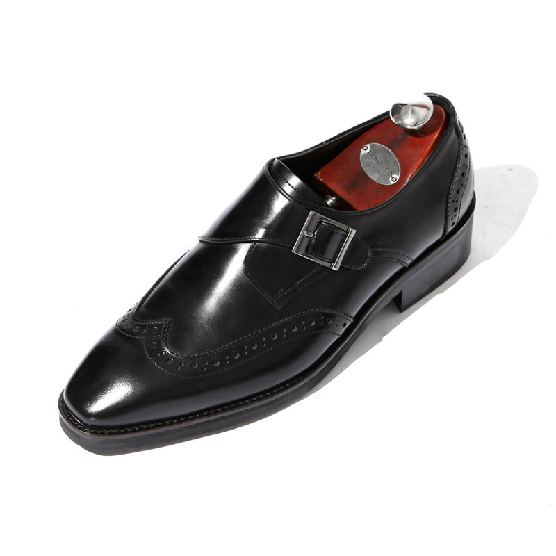 7.5cm Wing Tip One Buckle Monk Strap Hand made shoes (EL0182BK)