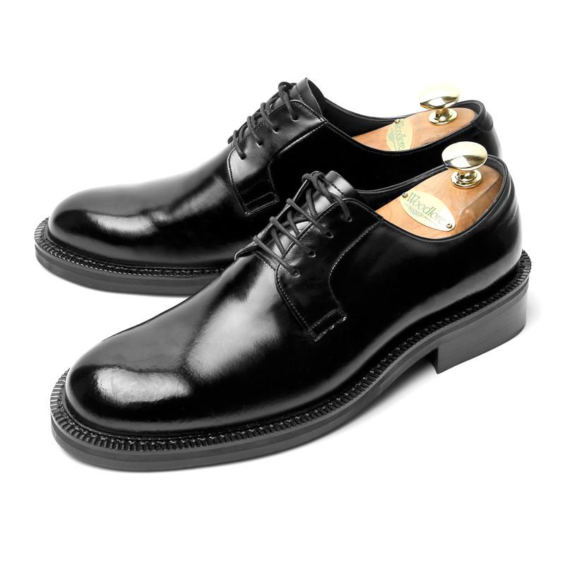 7.5cm Plain derby Shoes Hand made shoes (Standard _EL0185BK)