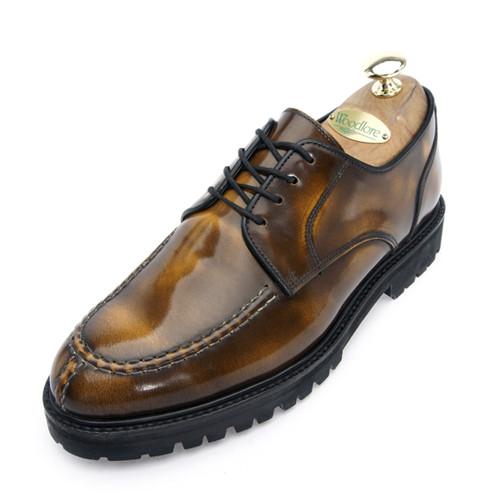 7cm Commando Tip Tip Derby Shoes Hand made shoes (EL0139ABR)