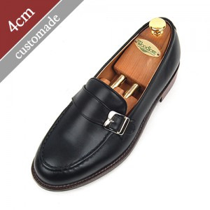 4cm Height increase strap loafers Hand made shoes (EL0055BK)