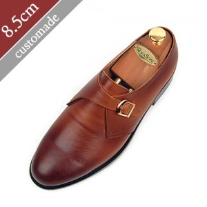 8.5cm Height increase Oxford Monk Strap Plain Hand made shoes (EL0004TAN)