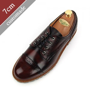7cm Height increase Casual Straight Tip Hand made shoes (EL0092WN)