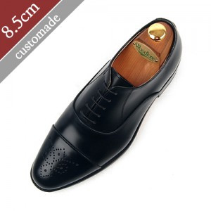 8.5cm Height increase Oxford Straight Tip Foot Moral Hand made shoes (EL0026BK)
