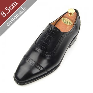 8.5cm Height increase Straight tip foot Moral Hand made shoes (EL0012BK)