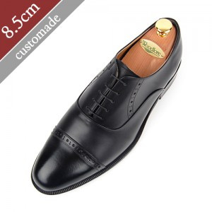 8.5cm Height increase Straight Tip Foot Moral Hand made shoes (EL0017BK)