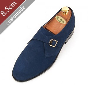 8.5cm Height increase Oxford Monk Strap Plain Hand made shoes (EL0004NV)