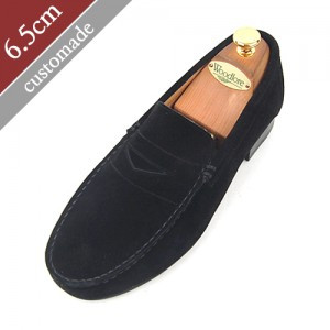 6.5cm Height increase Penny loafers Hand made shoes (EL0047BK)
