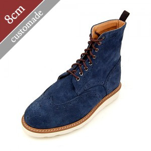 8cm Height increase Wingtip Brick sole Walker Hand made shoes (EL0104NV)
