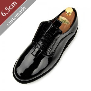 6.5cm Height increase Casual Plain Hand made shoes (EL0085EBK)