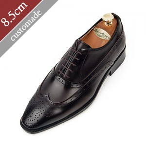 8.5cm Height increase Balmoral Wingtip Oxford Hand made shoes (EL0010CBR)