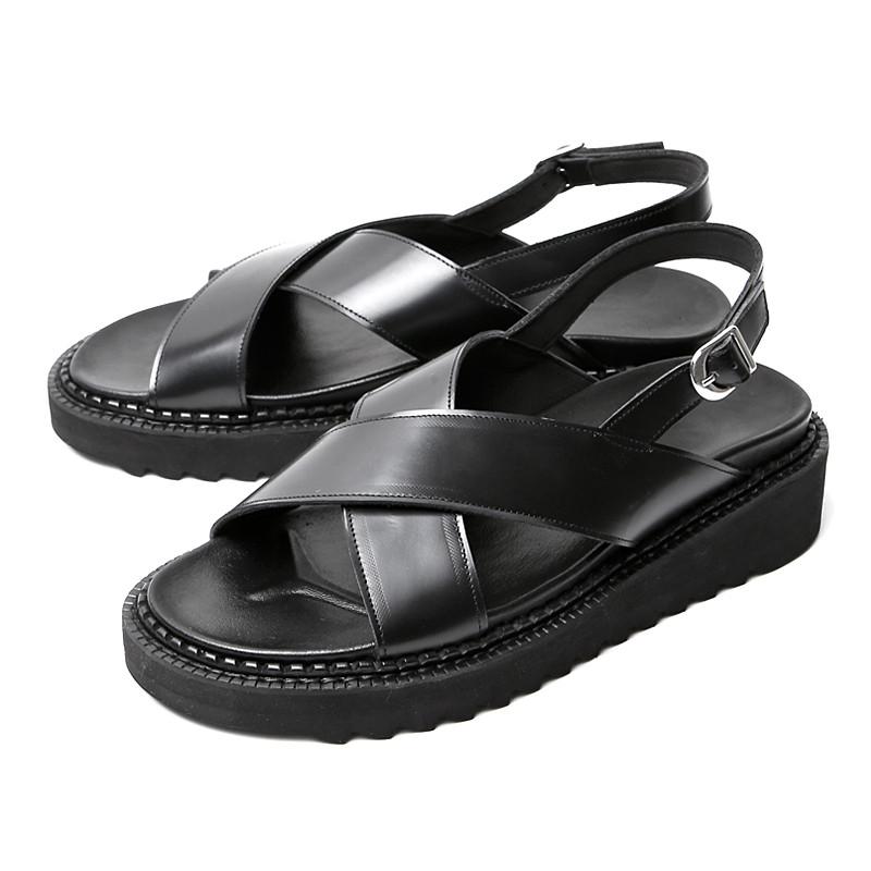5cm cross Strap Hand made shoes Sandals (EL0188BK)